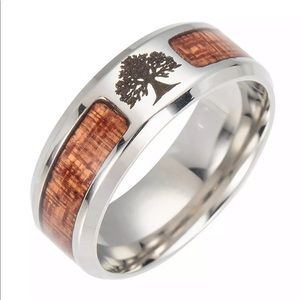 Tree of Life Wood Inlay Ring stainless